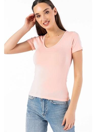 Tiffany&Tomato V Yaka Kısa Kollu T-Shirt Pudra